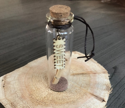 Geluksflesje met houten wens