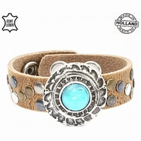 Top kwaliteit lederen damesarmband Natural