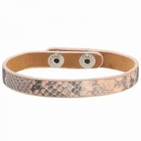 Armband slangenprint drukknoop sluiting